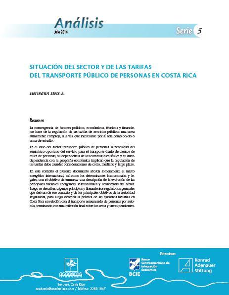 Situación del sector y de las tarifas del transporte público de personas en Costa Rica
