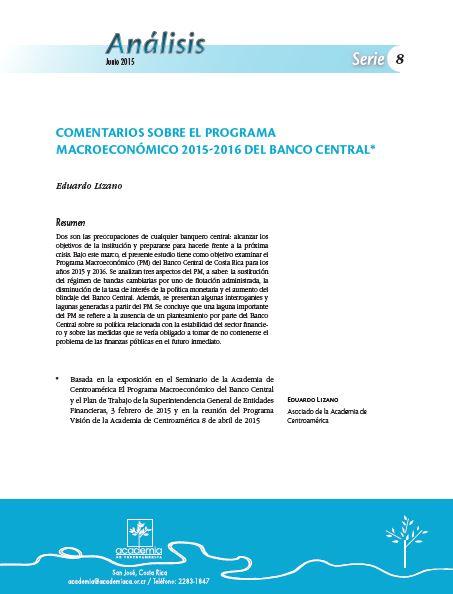 Comentarios sobre el Programa Macroeconómico 2015-2016 del Banco Central