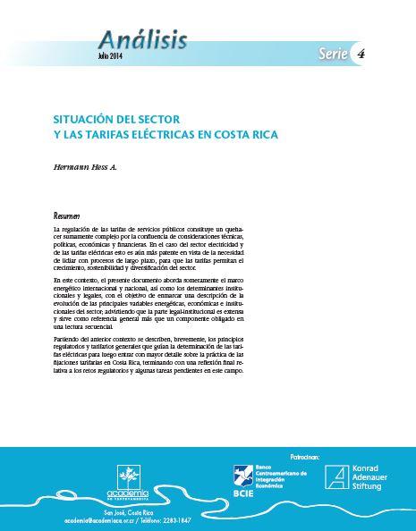 Situación del sector y las tarifas eléctricas en Costa Rica