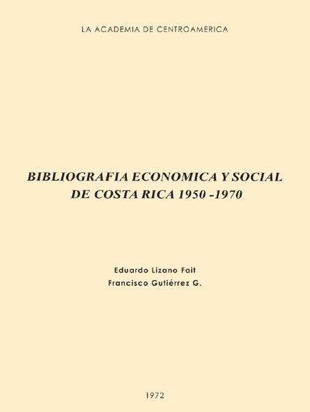 Bibliografía Económica y Social de Costa Rica 1950-1970